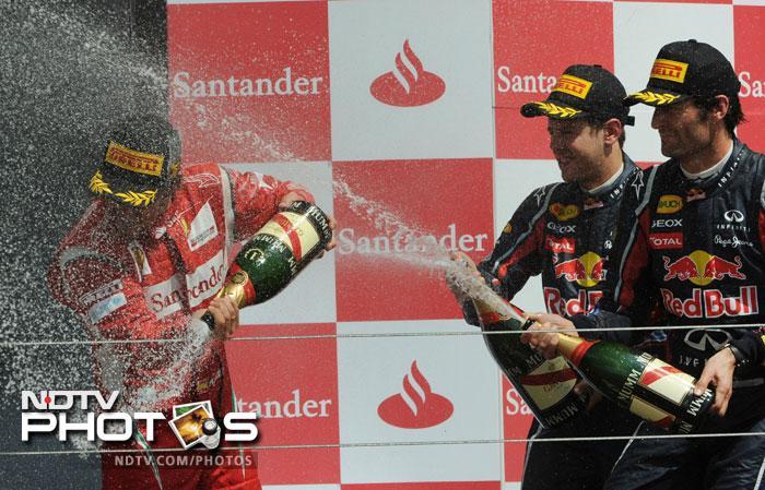 It was his 27th career victory, drawing him alongside three-times champion Briton Jackie Stewart in the record books, and came on an afternoon of high drama that saw defending champion and runaway leader Sebastian Vettel's race undone by a slow pit-stop.