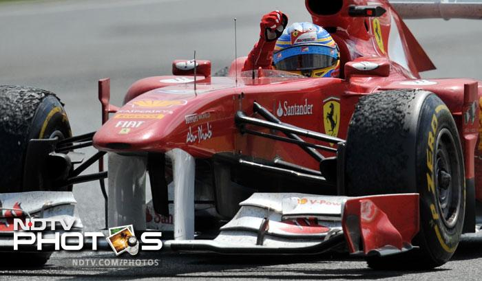 Vettel's loss eventually meant Alonso's gain as the Spaniard led the race and never looked back.