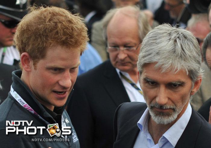 Former racers Damon Hill and Jackie Stewart also met Prince Harry.