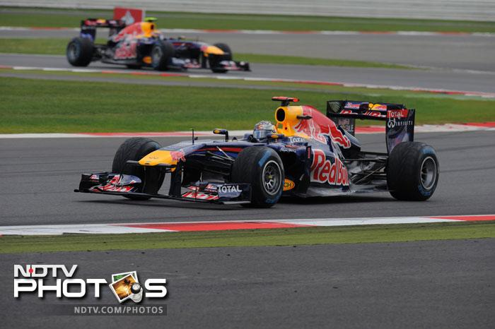 Sebastian Vettel looked to have got away from the rest of the pack but rain interruptions and pit troubles fell in his path.
