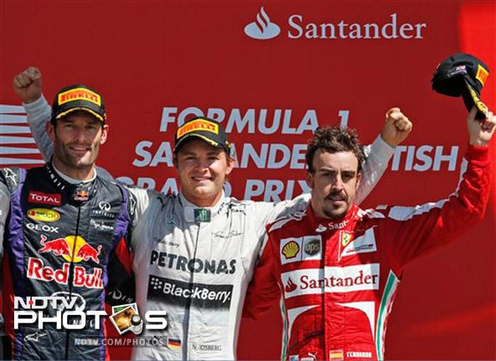 Mercedes' Nico Rosberg (centre), Red Bull's Mark Webber (left) and Ferrari's Fernando Alonso at the podium.
