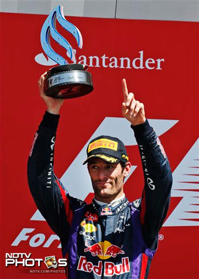 Mark Webber, who fell to 15th on the opening lap, fought back to finish second in his first race since announcing he was quitting Formula One at the end of the season ahead of two-time champion German Fernando Alonso in the second Ferrari and Hamilton, who stormed from the back to finish fourth despite his tyre failure.