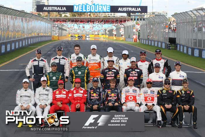 All the formula one drivers pose for a group photo prior to the start of the Australian Formula One Grand Prix at Albert Park in Melbourne.