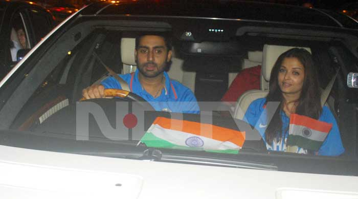 Aishwarya Rai Bachchan and Abhishek Bachchan couldn't resist stepping out of their house after India won the World Cup. (Photo: Varinder Chawla)