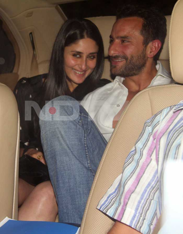 Saif Ali Khan and Kareena were all smiles for the Indian win. <br>(Photo Courtesy: Varinder Chawla)