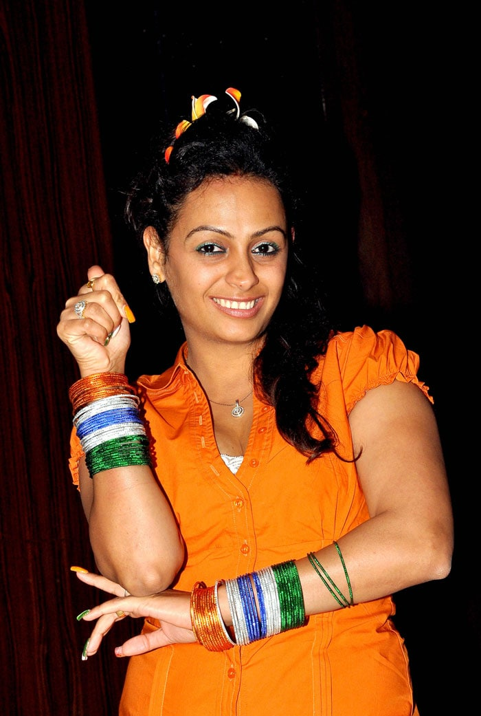 TV actress Ashita Dhawan opts for bangles coordinated with the Indian flag to mark her support. <br>(Photo Courtesy: AFP)