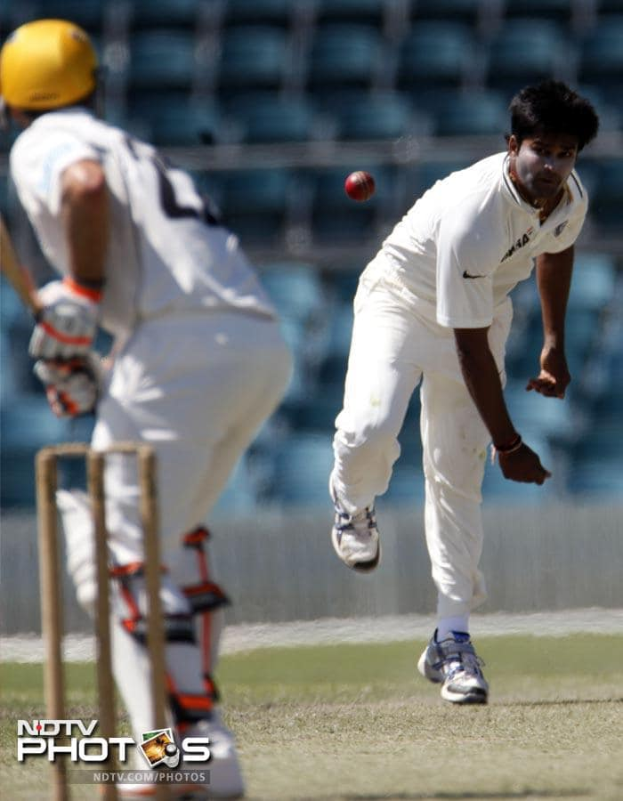 India's Vinay Kumar bowls a delivery to Wes Robinson of the Cricket Australia Chairman's XI during a two-day tour match.