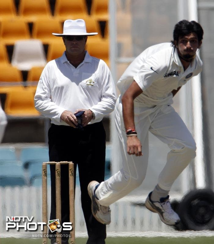 Ishant Sharma of India bowls against the Cricket Australia Chairman's XI during a two-day tour match at Manuka Oval in Canberra.