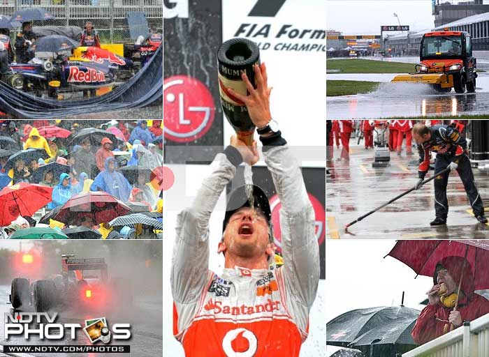 The Canadian Grand Prix saw heavy rains lash the track throughout the Sunday race. It was far from being a damp squib however as Jenson Button sneaked between the Red Bull's to claim the trophy. A look at the race: (AP and AFP photos)
