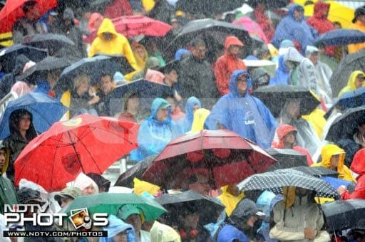 Light showers were predicted for the race at the Île Notre-Dame track in Montreal. What unfolded though was rain in full fury as the fans came prepared for the worst with their umbrellas.