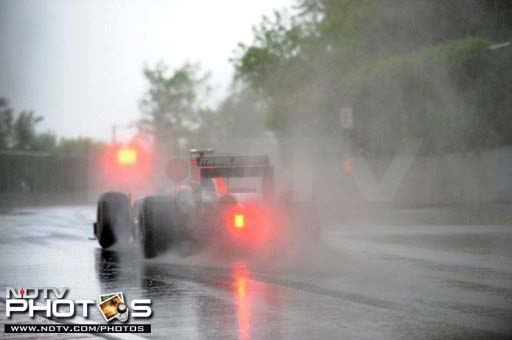 The safety car soon came out and the race was suspended for a bit due to the intense rain and falling visibility.