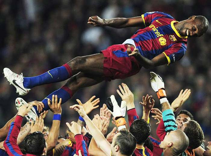 <b>Eric Abidal:</b> A tumour was detected on this France and Barcelona defender's liver in March 2011. He underwent surgery and two months later played the entire duration of Barcelona's masterclass in the Champions League final.
