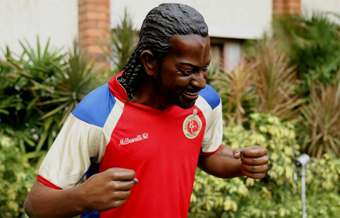 Some men don't need much support though. Chris Gayle is one such one-man army. His statue at the M. Chinnaswamy Stadium perhaps shows that he will be playing for RCB in several editions to come. (BCCI image)