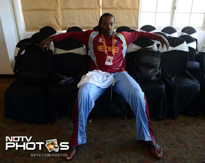 West Indies' Chris Gayle needs all the chairs he can get. Of course, once he stands in the middle with the bat in his hand, bowlers will need the same support to recover from their torment.