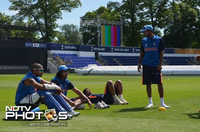 (From left) Shikhar Dhawan, Ishant Sharma, Umesh Yadav and Bhuvneshwar Kumar enjoying the Cardiff sun at the Swalec Stadium on Wednesday.