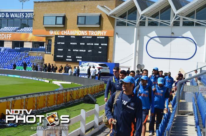 Skipper MS Dhoni leads the team after an hour-long team meeting at the National Cricket Centre in Cardiff's Swalec Stadium.