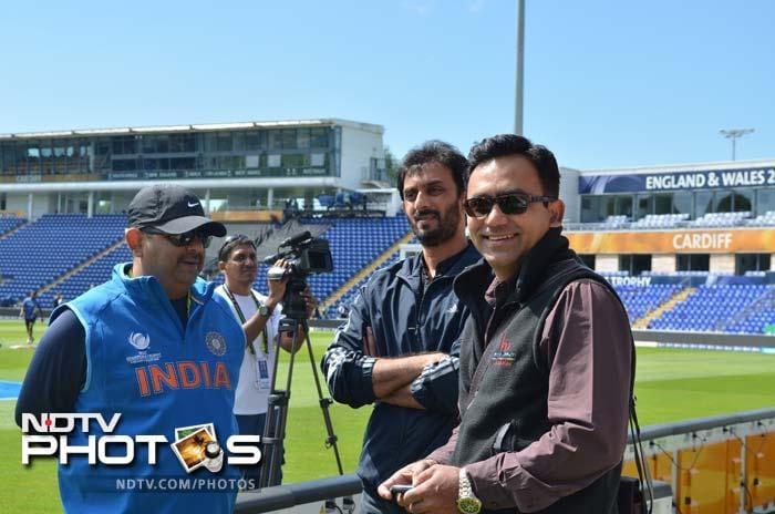 National selectors Saba Karim, Vikram Rathore with team manager Ranjib Biswal.