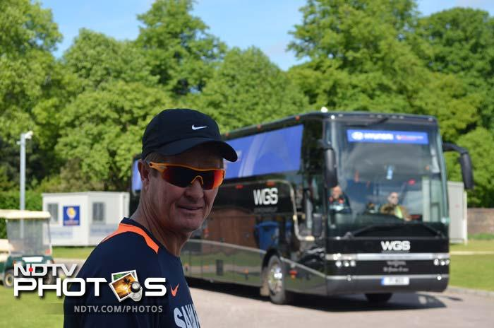 Trevor Penney poses for a candid pic as he walks to the team bus.