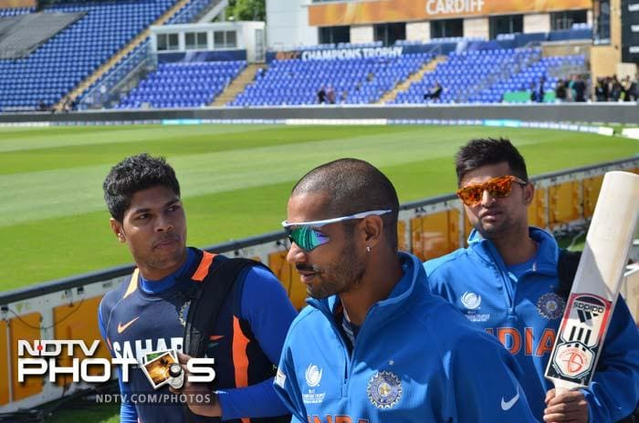 Umesh Yadav, Shikhar Dhawan with Suresh Raina. Umesh is in red-hot form after his five-wicket haul in warm-up match against Australia while Dhawan and Raina would want to lift their performances in the opening game against South Africa.