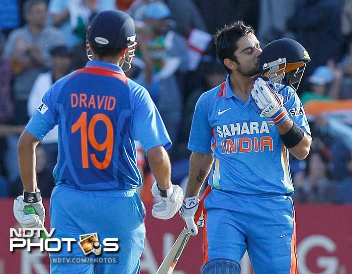 Once his fifty was out of the way, Virat Kohli simply raced to three-figures. He knocked his bails down though, on 107. Dravid was bowled immediately after.