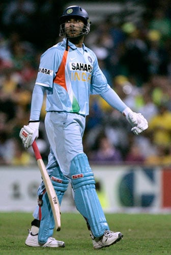 Yuvraj Singh walks off after he was bowled out for 10 runs against Australia during the first final of their tri-nations one-day international series at the Sydney Cricket Ground on Sunday, March 2, 2008. Australia made 239 in their innings.