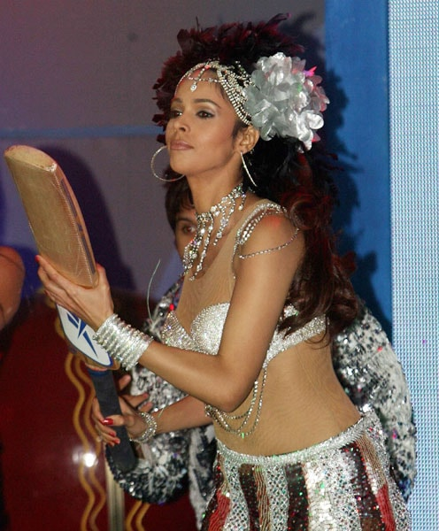 Mallika Sherawat performs during the Ceat Cricket Awards Ceremony in Mumbai. (PTI Photo)
