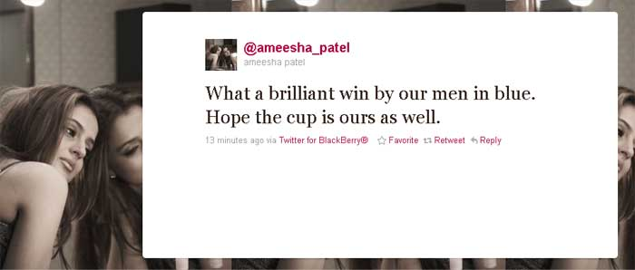 Ameesha Patel: What a brilliant win by our men in blue. Hope the cup is ours as well.