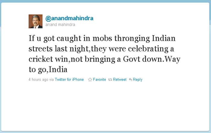 Anand Mahindra: If u got caught in mobs thronging Indian streets last night,they were celebrating a cricket win,not bringing a Govt down.Way to go,India