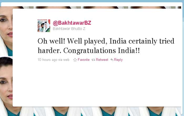 Bakhtawar Bhutto: Oh well! Well played, India certainly tried harder, Congratulations India!!