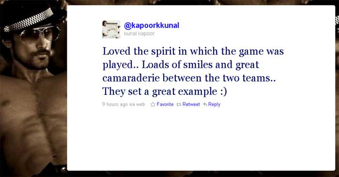 Kunal Kapoor: Loved the spirit in which the game was played.. Loads of smiles and great camaraderie between the two teams.. They set a great example :)