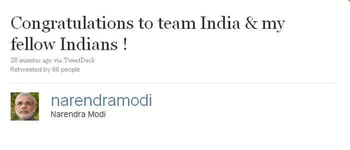 Stars, politicians, socialites all took to Twitter after India's big win. Here's what they tweeted. <BR><BR> Narendra Modi: Congratulations to team India & my fellow Indians !```