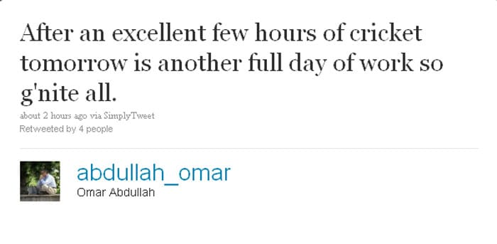 Omar Abdullah: After an excellent few hours of cricket tomorrow is another full day of work so g'nite all.