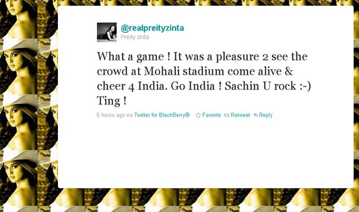 Preity Zinta: What a game ! It was a pleasure 2 see the crowd at Mohali stadium come alive & cheer 4 India. Go India ! Sachin U rock :-) Ting !