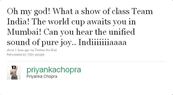 Priyanka Chopra: Oh my god! What a show of class Team India! The world cup awaits you in Mumbai! Can you hear the unified sound of pure joy.. Indiiiiiiiaaaa