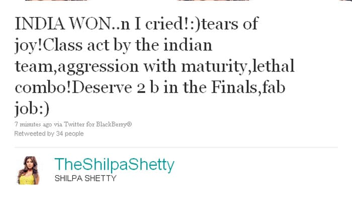 Shilpa Shetty: iNDIA WON..n I cried!:)tears of joy! Class act by the indian team, aggression with maturity, lethal combo! Deserve 2 b in the Finals,fab job:)
