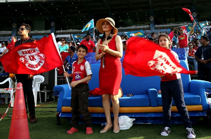 Co-owner of the Kings XI side and constantly cheering for her team, Preity Zinta is seen in the company of kids rooting for the Punjab outfit. The youth brigade waved flags to support their favourite side. (Image credit: BCCI)