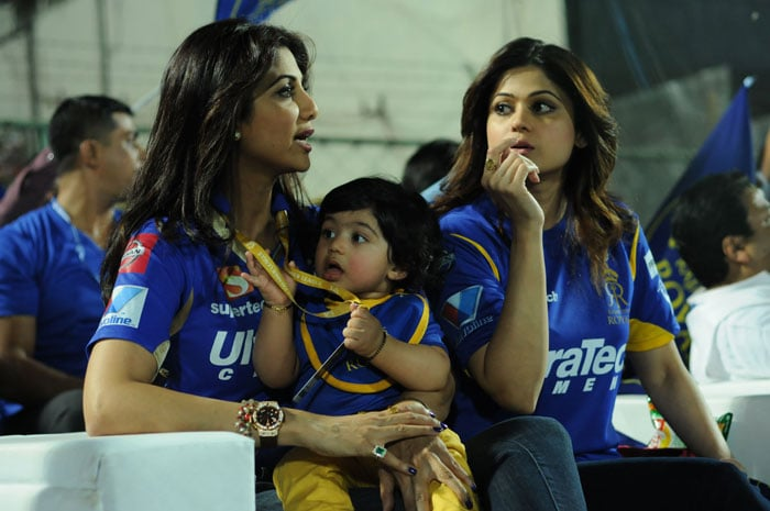 It was Shilpa's son Viaan's first outing to a IPL game since his birth on 21 March, 2012. Shamita Shetty and Shilpa enjoy the IPL match vs Rajasthan even as the cute kid looks on. (Image credit: BCCI)