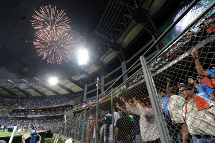 Fireworks erupt following grand World Cup win at The Wankhede Stadium.