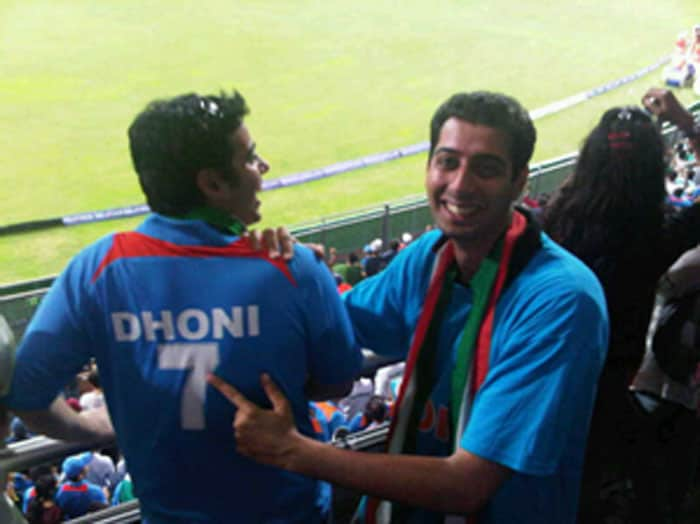 Fans at the match go gaga over Dhoni's winning shot.
