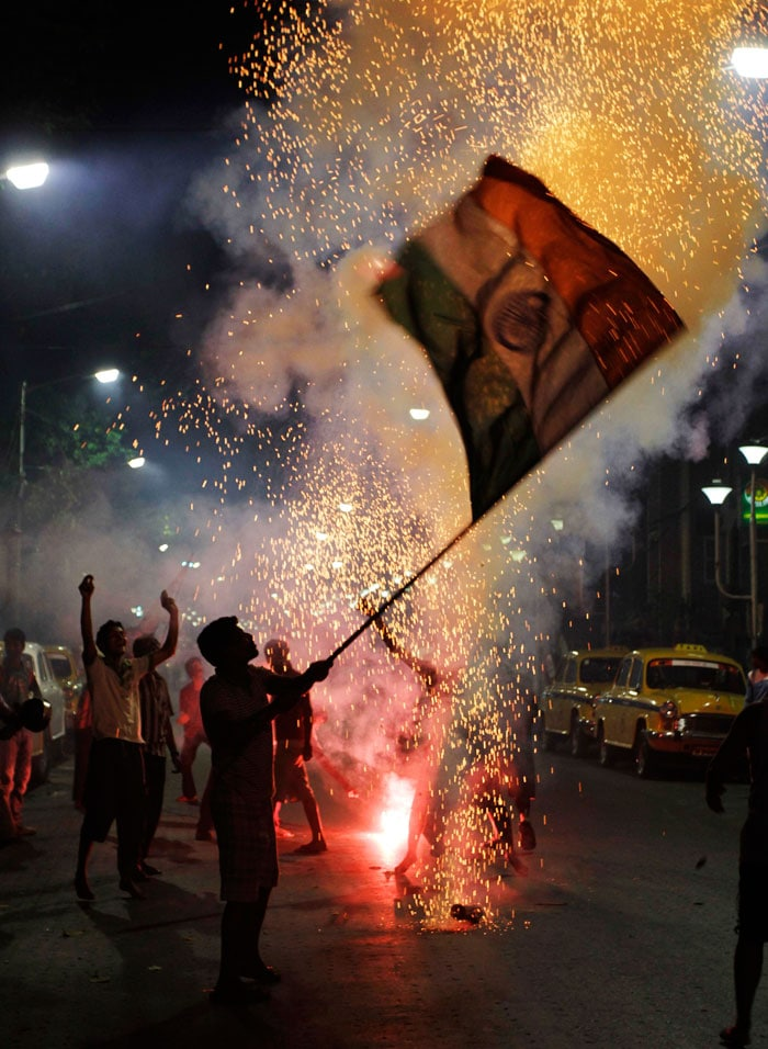 Fireworks in Kolkata as they celebrate this victory. (Photo courtesy: AP)