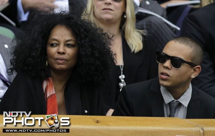 Diana Ross and her son, actor and musician Evan Ross, watch play on Centre Court at the All England Lawn Tennis Championships at Wimbledon. (AP Photo)