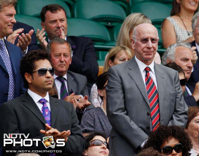 Master Blaster Sachin Tendulkar in the company of Sir Bobby Charlton (R), as both legends are introduced to the crowd on Centre Court at the All England Lawn Tennis Championships at Wimbledon.