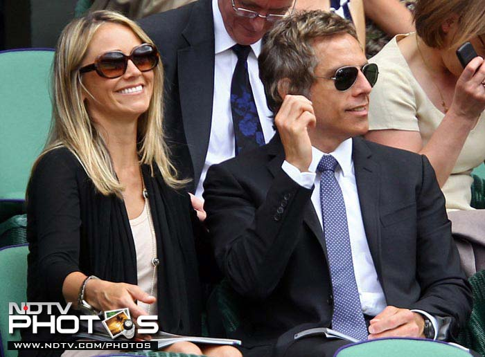 Hollywood actor and director Ben Stiller enjoys the action at Wimbledon 2010 with wife Christine Taylor, who is also an actor.