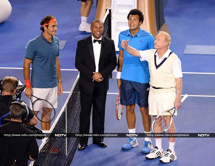 Wednesday's exhibition match between Roger Federer and Jo-Wilfried Tsonga at the Rod Laver Arena was organised by Federer to raise money for his foundation, which supports education for underprivileged children in southern Africa.