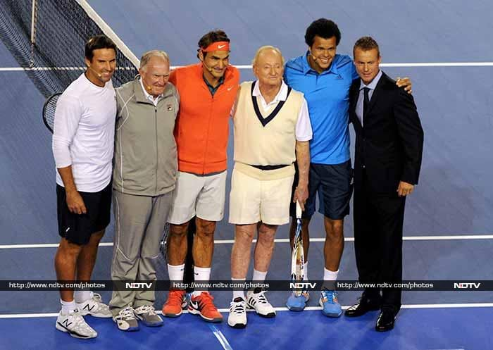 Roger Federer posed for a photo with tennis greats Pat Rafter, Tony Roche, Rod Laver, Jo Wilfred Tsonga and Lleyton Hewitt before a charity match in Melbourne on January 8.