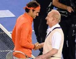 Federer rallies with Laver, at Rod Laver Arena