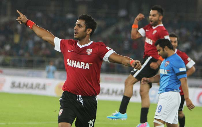 Tiwary though had the last laugh and is seen celebrating a goal with his skipper - Virat Kohli - in the background.
