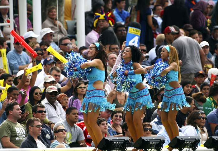 Look closely at the cheerleaders from most of the IPL teams and one would notice that the cheering squads are branded too. Whether on the clothes they wear or the headbands or shoes, branding plays an important role here. (Getty Images)