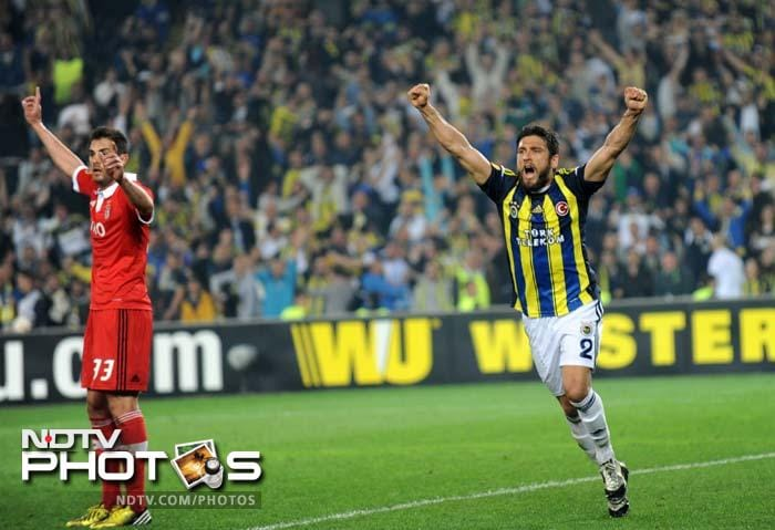 Egemen Korkmaz, the goal-scorer for Fenerbahce, celebrates after getting his reward with 18 minutes to go in the game.