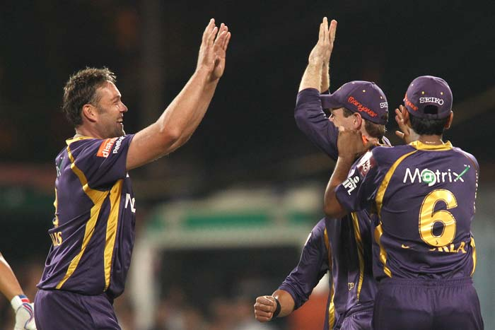 Kallis is seen here celebrating a wicket as he and his fellow bowlers got a firm hold of the match.